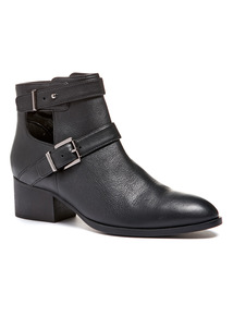 Black Leather Cut Out Buckle Ankle Boot