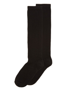 Black Plain Knee Socks 2 Pack
