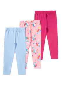 3 Pack Assorted Plain And Printed Leggings (9 months-6 years)