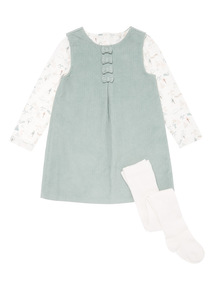 Green Cord Pinny, Bodysuit and Tights Set (0-24 months)