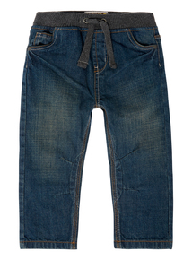 Boys Blue Denim Ribbed Waist Jeans (9 months-5 years)