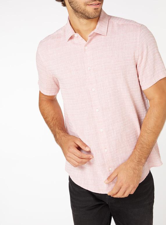Orange Striped Textured Regular Fit Shirt