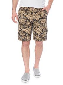 Black Washed Pattern Cargo Shorts