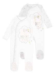White Slogan Print Sleepsuits 2 Pack (0-12 months)