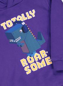 Purple Hooded Dinosaur Design Long-Sleeved Hooded Top (9 Months - 6 Years)