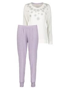 Christmas Cream And Lilac Snowflake Pyjamas
