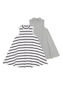Grey Ribbed Swing Dress 2 Pack (3 - 12 years)
