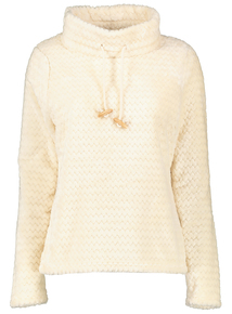 Cream Soft Textured Fleece Pullover