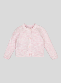 Pink Pearl Knit Cotton Cardigan (Newborn- 12 months)