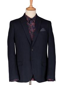 Navy Wool Blend Slim Fit Herringbone Jacket