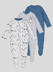 Multicoloured Penguin Sleepsuits 3 Pack (Newborn -24 months)