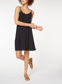 Black Plain Lattice Trim Dress