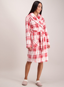 Pink Check Fleece Dressing Gown