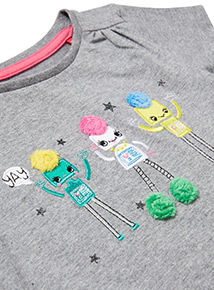 Grey Robot Embroidered T-Shirt (9 months-6 years)