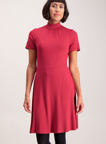 Berry Red Roll Neck Skater Dress