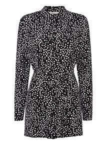 Spot Print Long Sleeve Tunic