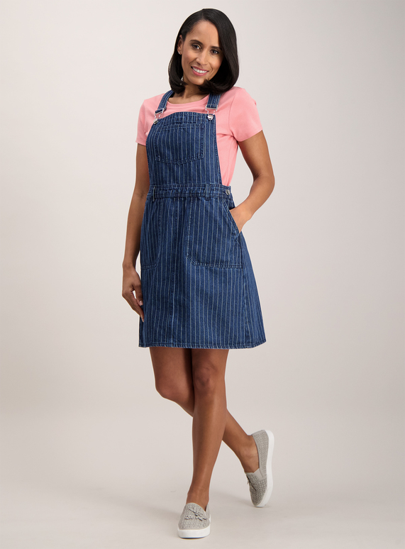 bc7de8ce69fd Womens Blue Striped Denim Pinafore Dress | Tu clothing