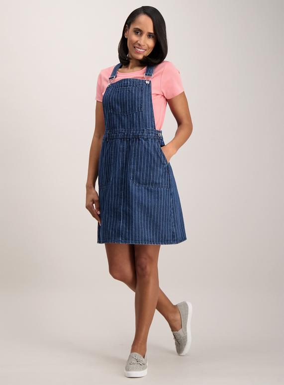 a309fb94d7 Womens Blue Striped Denim Pinafore Dress | Tu clothing