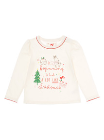 Cream Christmas Slogan T Shirt (0-24 months)