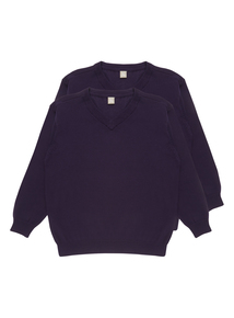 Unisex Purple V Neck Jumpers 2 Pack (3-12 Years)