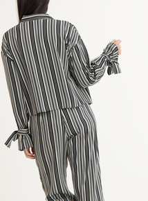 GFW Black & Silver Striped Long Sleeved Shirt