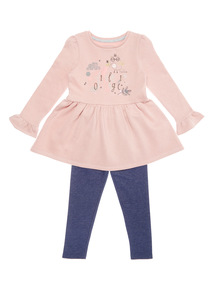 Pink and Navy Top and Leggings Set (9 months-6 years)