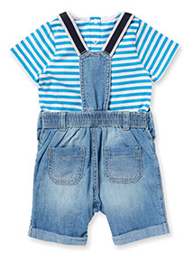 Blue Denim Bibshort and Body Set (0-24 months)