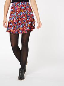 Butterfly Print Ruffle Skirt