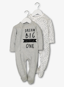 Grey Sleepsuits 2 Pack (Newborn - 12 Months)