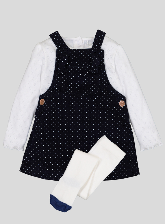 48248a51ab2 Baby Navy Pinafore Dress With Bodysuit   Tights (0-24 months)