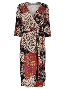 Multicoloured Leopard Print Wrap Dress