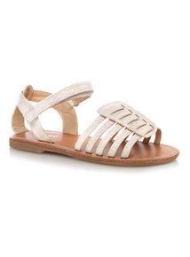 Girls White Shimmer Sandals