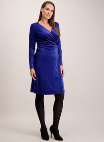 Blue Velvet Wrap Around Dress