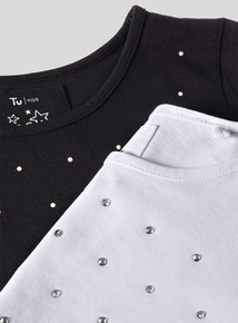 Multicoloured 2 Pack Studded T-Shirts (3- 14 Years)