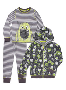 Grey Monster Bash Three Piece Pyjama Set (1-8 years)