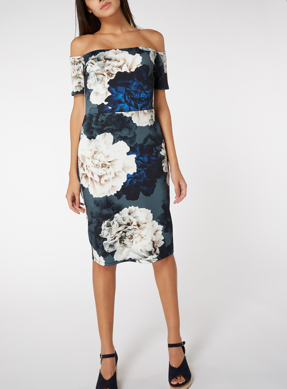 Online Exclusive Multicoloured Floral Bardot Midi Dress