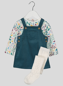Teal Corduroy Pinny Dress, Body and Tights 3 Piece Set (0-24 months)
