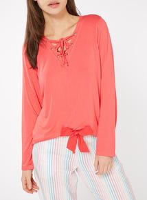 Lace Up Neck Long Sleeve Pyjama Top