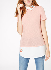 Pink Embroidered Collar Top