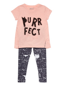 Multicoloured Cat Tee And Leggings Set (9 months - 6 years)