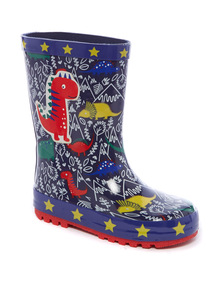 Blue Dinosaur Wellies