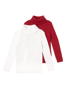 Red and White Two Pack Roll Neck Jumpers (9 months - 5 years)