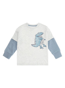 Grey and Blue Dinosaur Print Long-Sleeved Tee (9 months - 6 years)