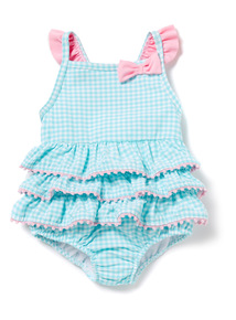 Blue and White Gingham Check Swimsuit (0-36 months)
