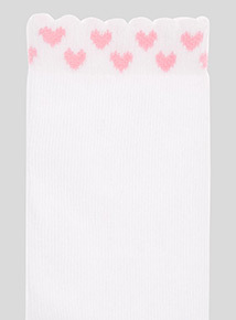 5 Pack Pink Gingham and Heart Trim Socks (6 infant-5.5 adult)