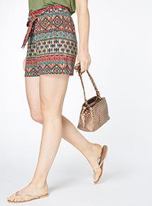Tie Waist Aztec Shorts