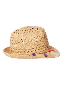 Tassel Trim Straw Hat