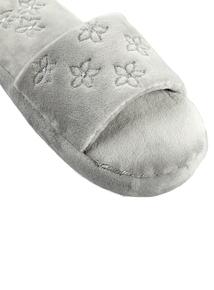 Grey Floral Embroidered Slider Slipper