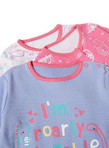 3 Pack Multicoloured Dinosaur Print Sleepsuits