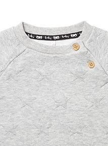 Grey Embossed Star Sweat Top (0-24 months)
